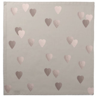 simple clear rose gold love hearts, neutral napkin