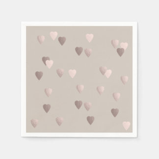 simple clear rose gold love hearts, neutral paper serviettes