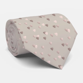 simple clear rose gold love hearts, neutral tie