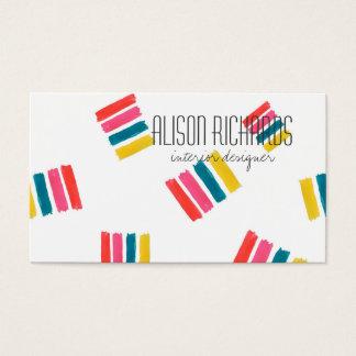 Simple Colorful rainbow stripes interior design Business Card