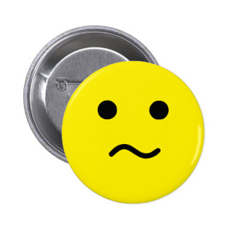 Simple Confused Meh Yellow Face 6 Cm Round Badge