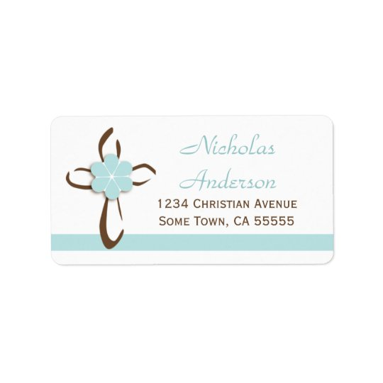 Simple Contemporary Cross with Blue Address Label2 Address Label
