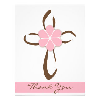 Simple Contemporary Cross with Pink Flower Note Custom Invites