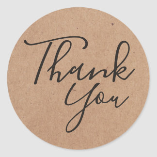 Simple Cool Black Kraft Paper Thank you Classic Round Sticker