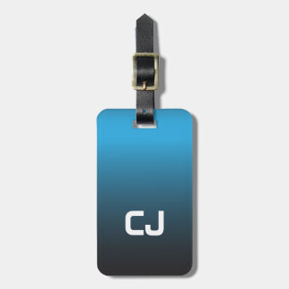 Simple Cool Blue Ombre Monogram Bag Tag