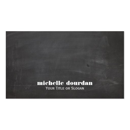 Simple Cool Chalkboard Rustic Unique Black Business Card Templates