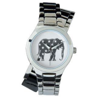 Simple Cool Elephant Chic Black White Stars Unique Wristwatch