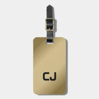 Simple Cool Faux Gold Black Monogram Bag Tag