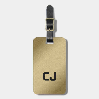 Simple Cool Faux Gold Black Monogram Luggage Tag