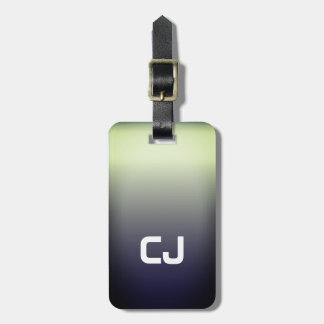 Simple Cool Ombre White Bold Monogram Luggage Tag