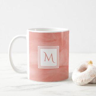 Simple Coral Pink Subtle Marble Modern Monogram Coffee Mug