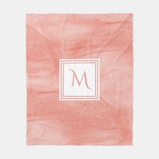 Simple Coral Pink Subtle Marble Modern Monogram Fleece Blanket