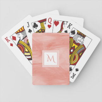 Simple Coral Pink Subtle Marble Modern Monogram Playing Cards