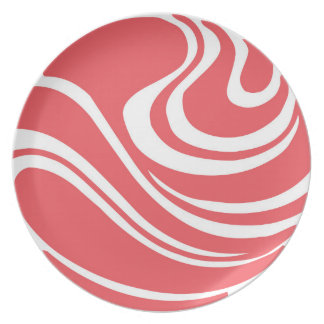 Simple Coral Red Abstract Melamine Plate