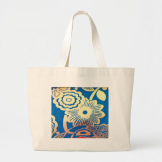 Simple Country Blue and White Flower Pattern Canvas Bag