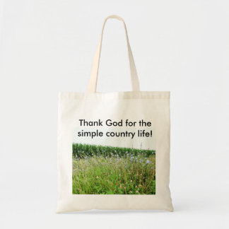 Simple Country Life Tote Bag With Blue Flowers