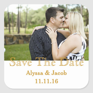 Simple Couples Photo Save the Date Wedding Square Sticker