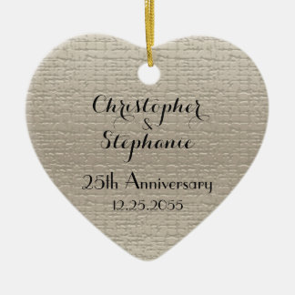 Simple Custom Elegant Heart Anniversary Christmas Ceramic Ornament