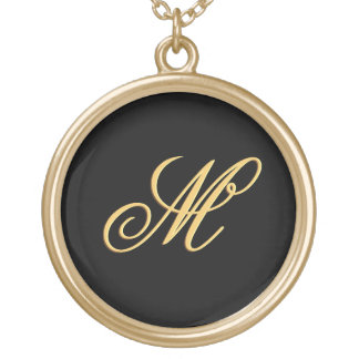 Simple Custom Personalized Gold Initial Monogram Gold Plated Necklace