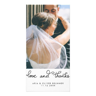 Simple Cute Love And Thanks Typography Wedding Custom Photo Card
