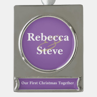 Simple Cute Our First Christmas Together Ornament Silver Plated Banner Ornament