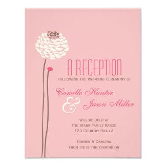 Simple Dahlia - Vintage Pink & Brown Reception Card