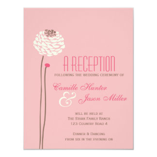 "Simple Dahlia - Vintage Pink & Brown Reception 4.25"" X 5.5"" Invitation Card"