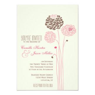 Simple Dahlia - Vintage Pink & Brown Wedding Card