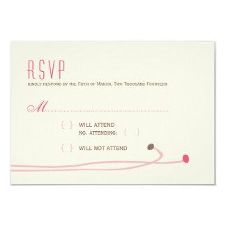 Simple Dahlia - Vintage Pink & Brown Wedding RSVP Card
