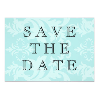 "Simple Damask Robin's Egg Blue Save The Date 5"" X 7"" Invitation Card"