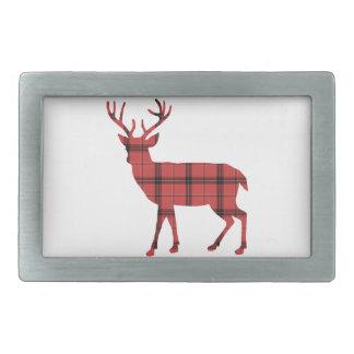 Simple Deer Red and Black Plaid Tartan Pattern Belt Buckles