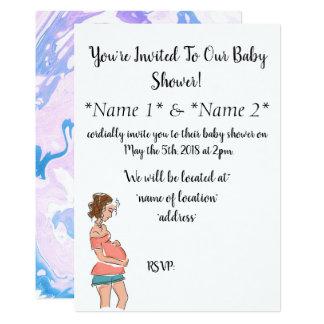 Simple Designed  Pregnant Mom Baby Shower Invites