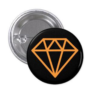 Simple Diamond - Light Orange on Black 3 Cm Round Badge