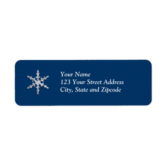Simple Diamond Snowflake Return Address Label