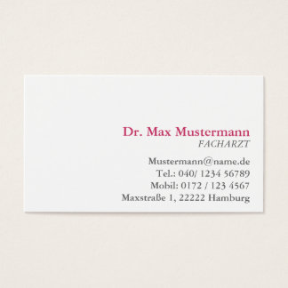 simple doctor visiting card