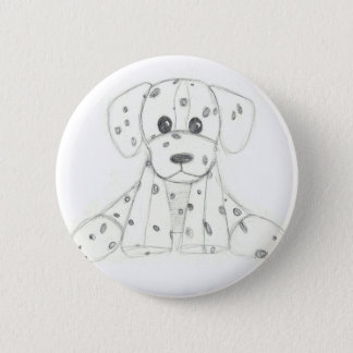 simple dog doodle kids black white dalmatian 6 cm round badge