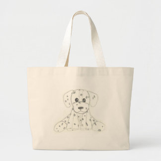 simple dog doodle kids black white dalmatian large tote bag