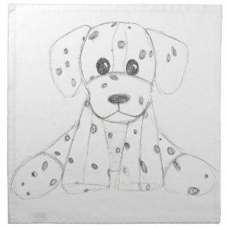 simple dog doodle kids black white dalmatian napkin
