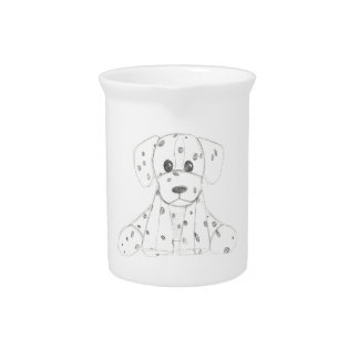 simple dog doodle kids black white dalmatian pitcher