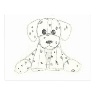 simple dog doodle kids black white dalmatian postcard