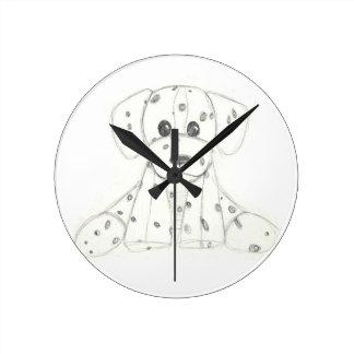 simple dog doodle kids black white dalmatian round clock
