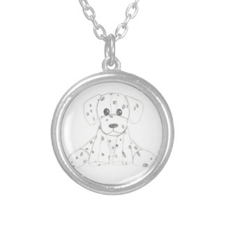 simple dog doodle kids black white dalmatian silver plated necklace