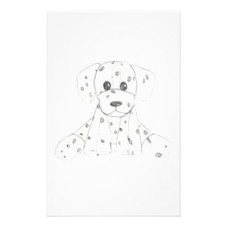 simple dog doodle kids black white dalmatian stationery