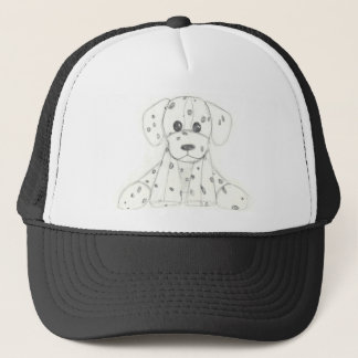 simple dog doodle kids black white dalmatian trucker hat