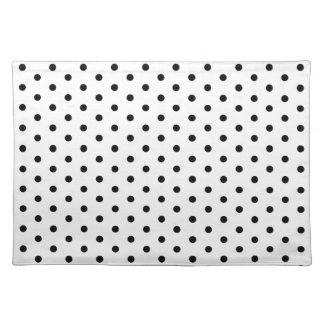 Simple Dots Black and White Polka Dot Design Place Mat