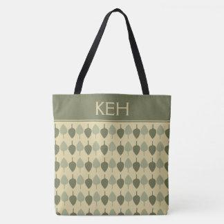 Simple Earth Green Leaves Monogram Tote Bag