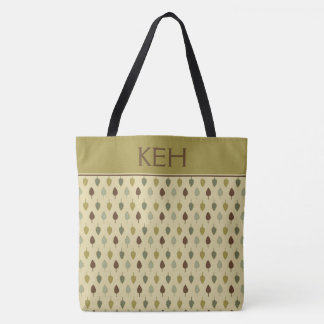 Simple Earth Leaves Monogram Tote Bag