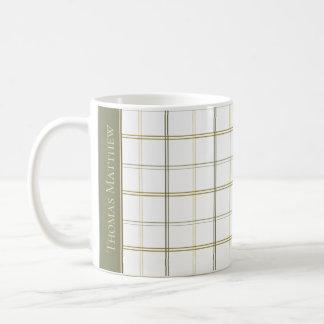 Simple Earth Plaid on White Personalized Coffee Mug