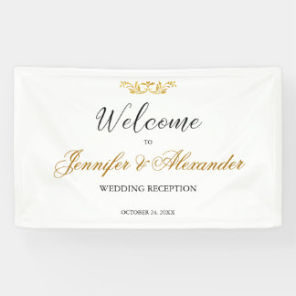 Simple editable white gold welcome wedding banner