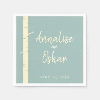 Simple Eggshell Blue Birch Wedding Table Napkins Disposable Serviette